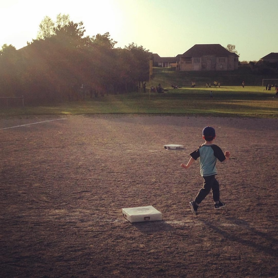 Brayden Hurley rounds first base during his initial T-ball workout of the season at Westbrook Park in Kilworth, Ont.