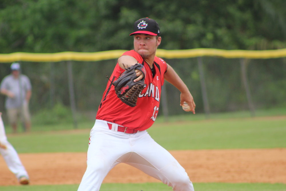 Left-hander Jaden Griffin (Lower Sackville, N.S.) hurled six shutout innings to lead the Junior National Team to a 7-2 win over the DSL Astros in Game 1 of Tuesday's doubleheader to give the squad its first victory of the week. Photo Credit: Baseball Canada
