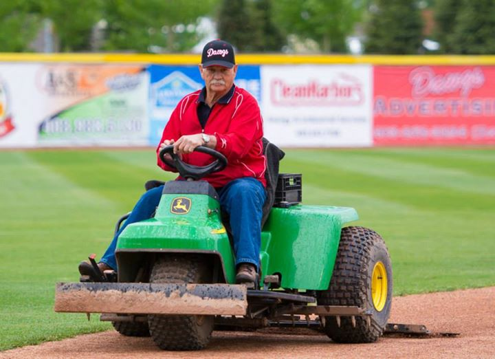 Blair Kubicek, also known as Mr. Baseball Alberta, is still going strong at 68. The former player, scout and founder of the Prairie Baseball Academy has played an important role in the success of the Okotoks Dawgs. Photo Credit: Okotoks Dawgs