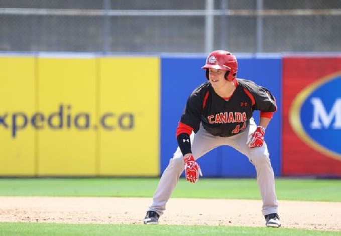 Michael Stovman (Maple Ridge, B.C.) drove in five runs on a pair of doubles to lead the Junior National Team to a 15-2 blowout win over MLB Prospect League. Photo Credit: Baseball Canada