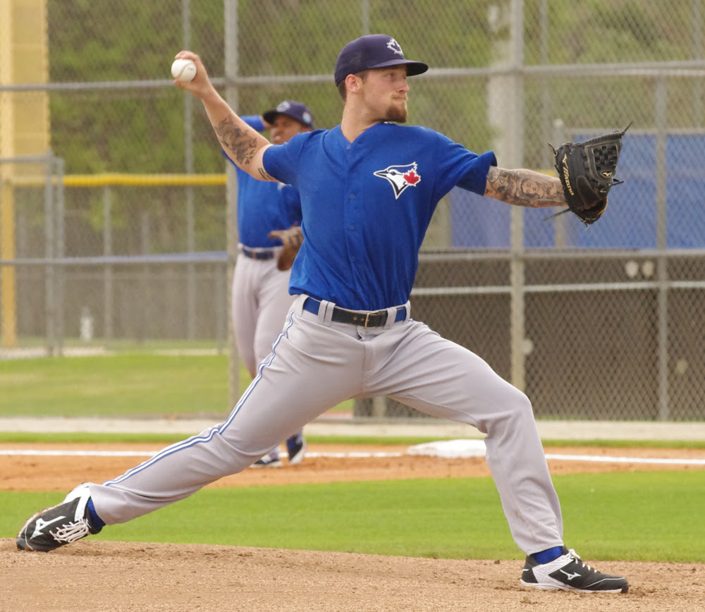 Now in his fourth season in the Toronto Blue Jays system, prized pitching prospect Sean Reid-Foley is showing improvement with the double-A New Hampshire Fisher Cats after a rough start to the campaign. Photo Credit: Jay Blue