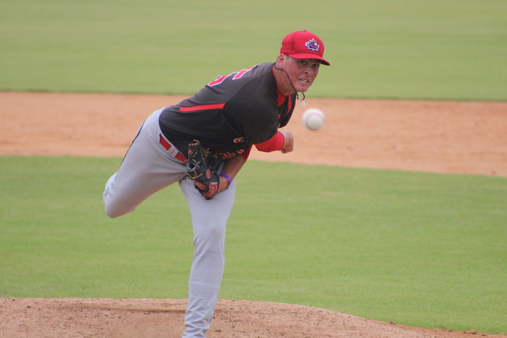 Right-hander Ben Abram (Georgetown, Ont.) registered five strikeouts in three innings of relief in the Junior National Team's 6-5 win over the DSL Rays in Game 1 of a doubleheader on Friday. Photo Credit: Baseball Canada