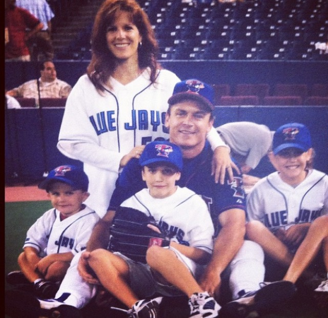 Mother and father Julie and John Gibbons back in the early Jays days with daughter Jordan along with sons Troy and Kyle.