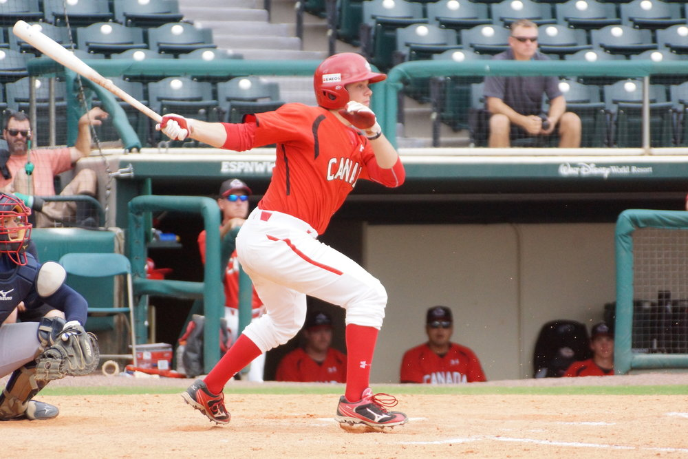 Leadoff hitter Cooper Davis (Mississauga, Ont.) collected four hits, including a triple and two doubles and drove in two runs to lead the Junior National Team to a 9-6 win over a team of Minnesota Twins prospects in their Dominican Summer League finale on Saturday.  Photo Credit: Baseball Canada