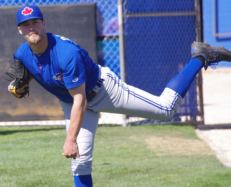 Intense left-hander Shane Dawson (Drayton Valley, Alta.) is now in his second season with the double-A New Hampshire Fisher Cats. On top of refining his delivery and command, the Canadian southpaw is striving to have a calmer demeanor on the mound as he attempts to move up the organizational ladder.  Photo Credit: Jay Blue