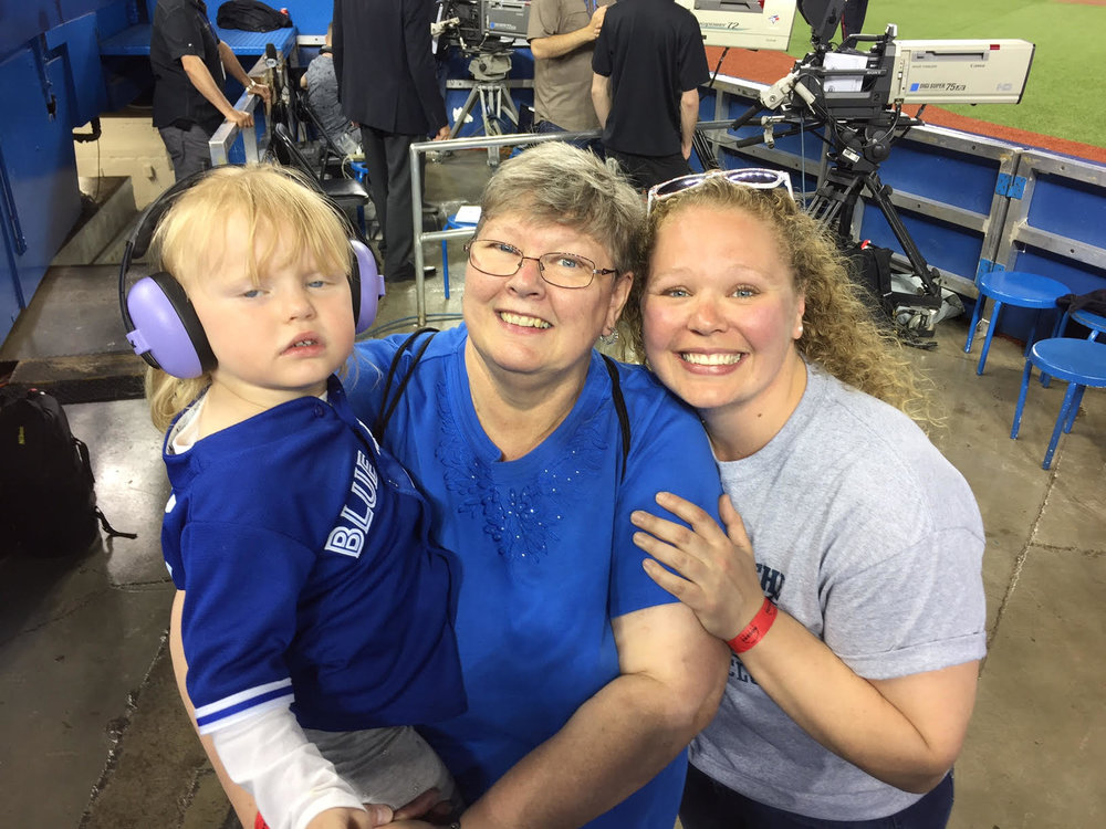Whitey's granddaughter Jayden, his wife Karen and daughter Kelly.