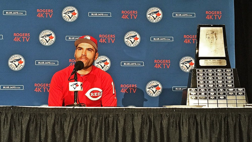 Cincinnati Reds 1B Joey Votto (Etobicoke, Ont.) after being presented with his sixth Tip O'Neill award.