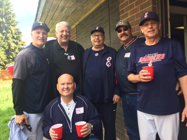 At the clubhouse dedication, from left to right: Greg O'Halloran, Cec Kozloski, Whitey, Steve Zavislak, of Cincinnati, Bill (Bounce) Thompson, current coach, ex-player and manager of the first Etobicoke Indians team and two-fister Greg (Chopper) Miner, at the bottom.