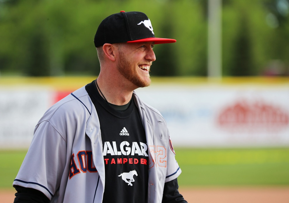 Stamps QB Bo Levi Mitchell was a fan fave in the home run derby and he did not disappoint.