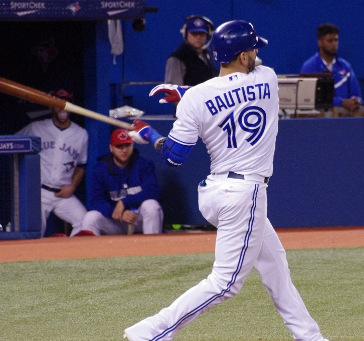 Jose Bautista clubbed a three-run home run to lead the Toronto Blue Jays to a 3-1 win over the Texas Rangers in the second game of their weekend series at Rogers Centre. Photo Credit: Jay Blue