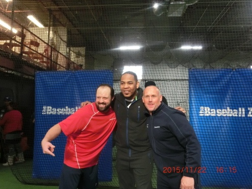 Former Blue Jays slugger Edwin Encarnacion on a visit to The Baseball Zone to see Ryan Armstrong, left and Rick Johnston.