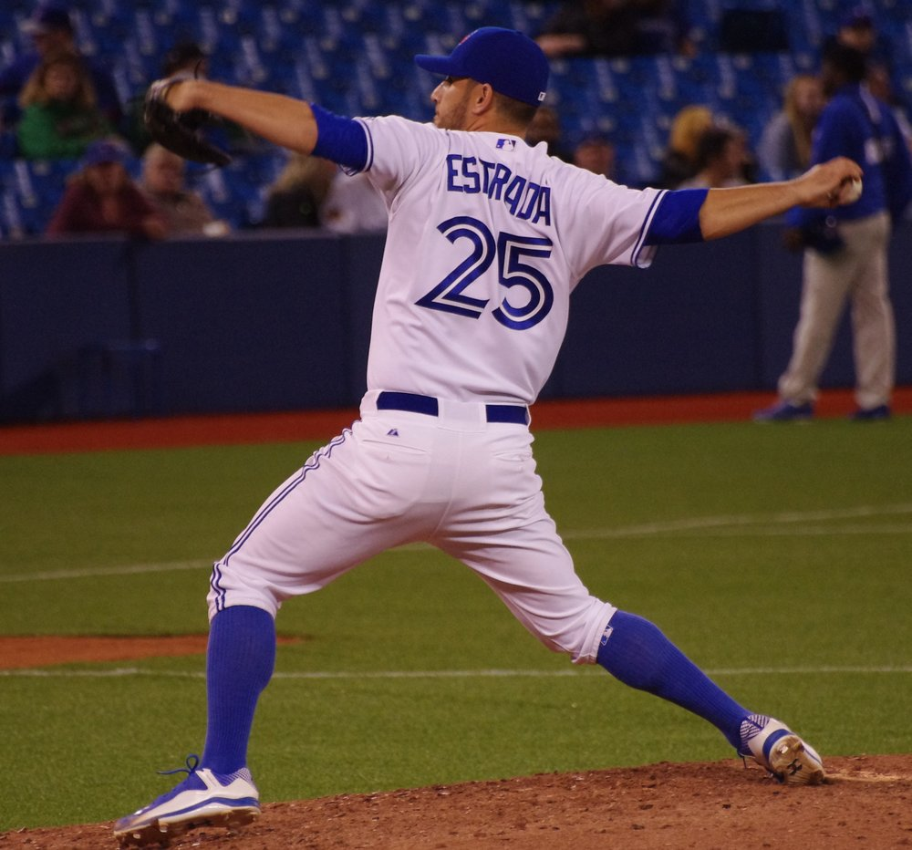 Blue Jays right-hander Marco Estrada allowed seven runs on nine hits in just 3 2/3 innings to take the loss in the opening game of a four-game series against the New York Yankees on Thursday. Photo Credit: Jay Blue