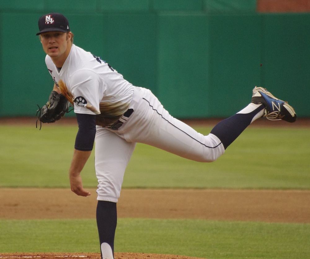 Drayton Valley, Alta., native Shane Dawson allowed just one run on two hits in five innings in the double-A New Hampshire Fisher Cats' 1-0 loss to the Harrisburg Senators on Thursday. Photo Credit: Jay Blue