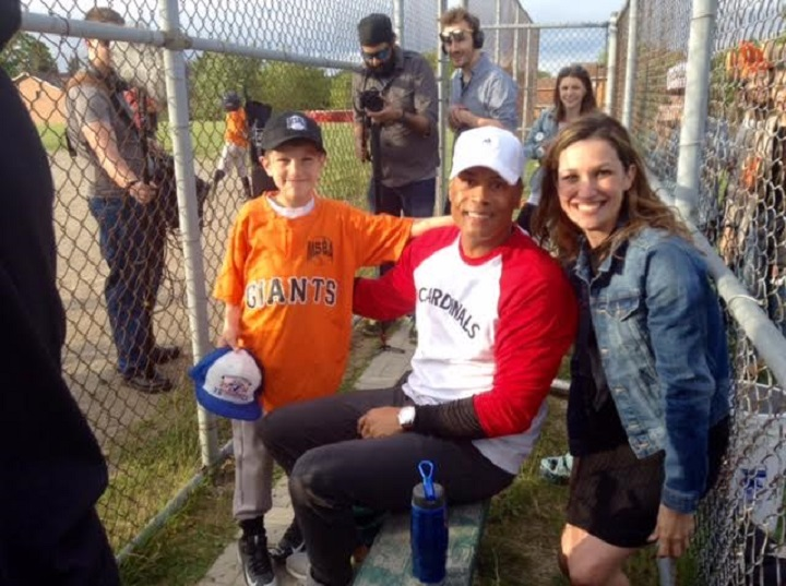 Hall of Famer Robbie Alomar was in Mississauga Thursday to shoot a ketchup commercial. That's Jayden Reeves, 8, giving Alomar pointers along with mom Megan Reeves