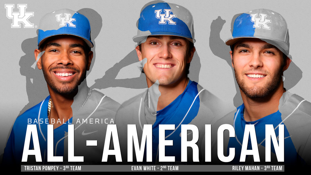 Evan White, whom the Blue Jays have been linked with in numerous mock drafts earned Second Team All-American honours from Baseball America. He is flanked by Tristan Pompey (Torontto, Ont.) and Riley Mahan, who both were named to the Third Team. Graphic:  Brandon Kolditz, UK Athletics.