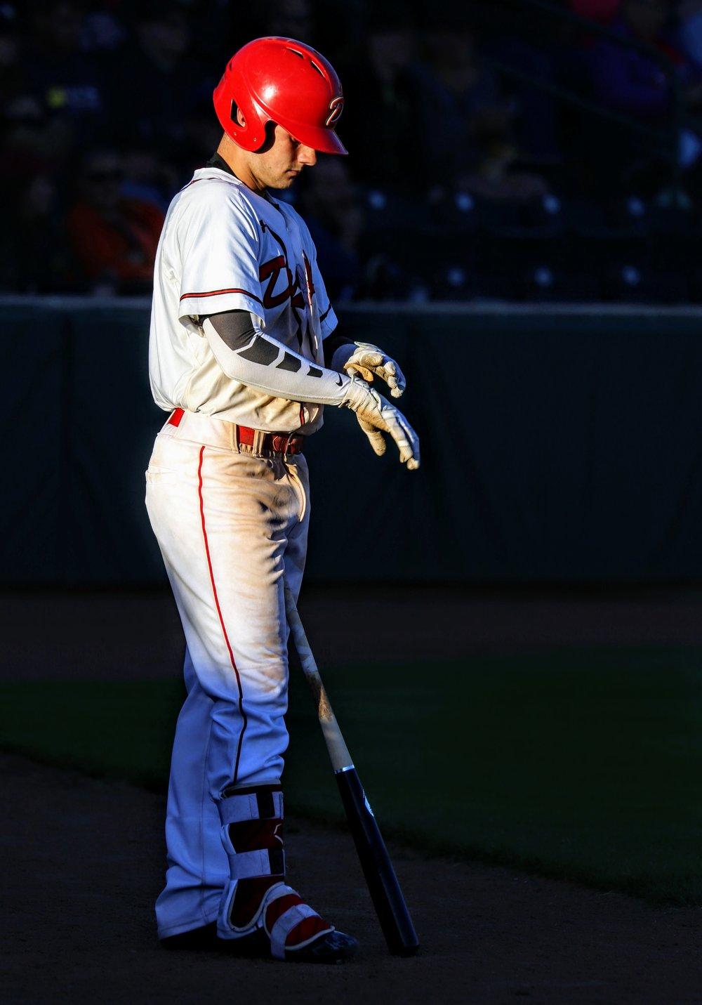 Okotoks Dawgs shortstop Peter Hutzal prepares for an at bat. Photo Credit: Amanda Fewer