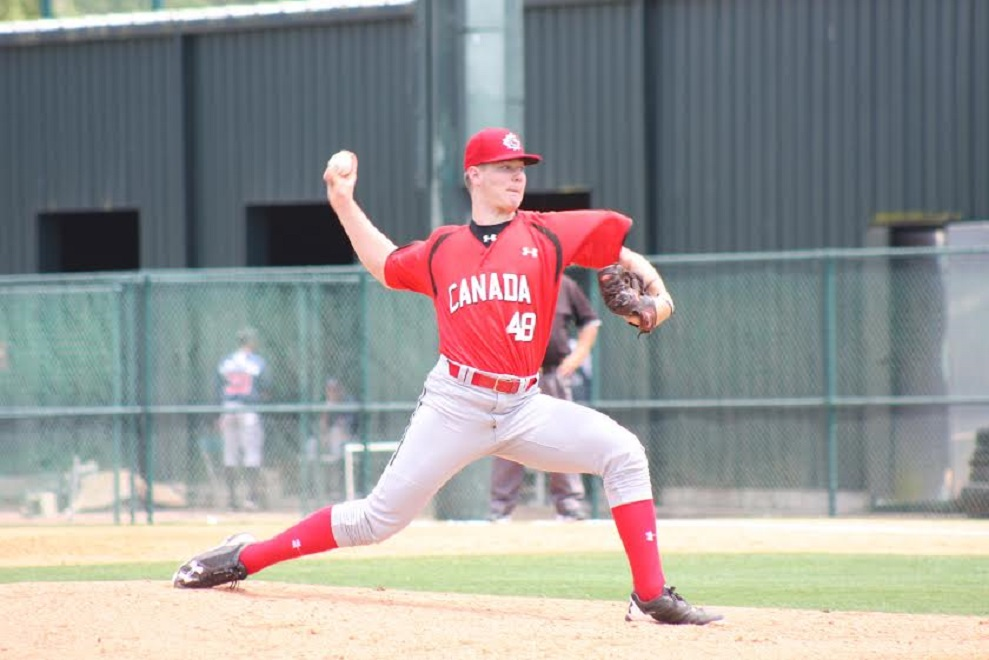Right-hander Landon Leach (Pickering, Ont.) is forecast to be the first Canadian chosen in the 2017 MLB Draft. Photo Credit: Baseball Canada