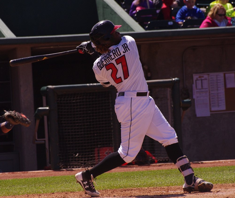 Vladimir Guerrero Jr. (Montreal, Que.) was 3-for-4 with two doubles, two runs and three RBI on Thursday to lead the Lansing Lugnuts to a 7-3 win over the Dayton Dragons. Photo Credit: Jay Blue