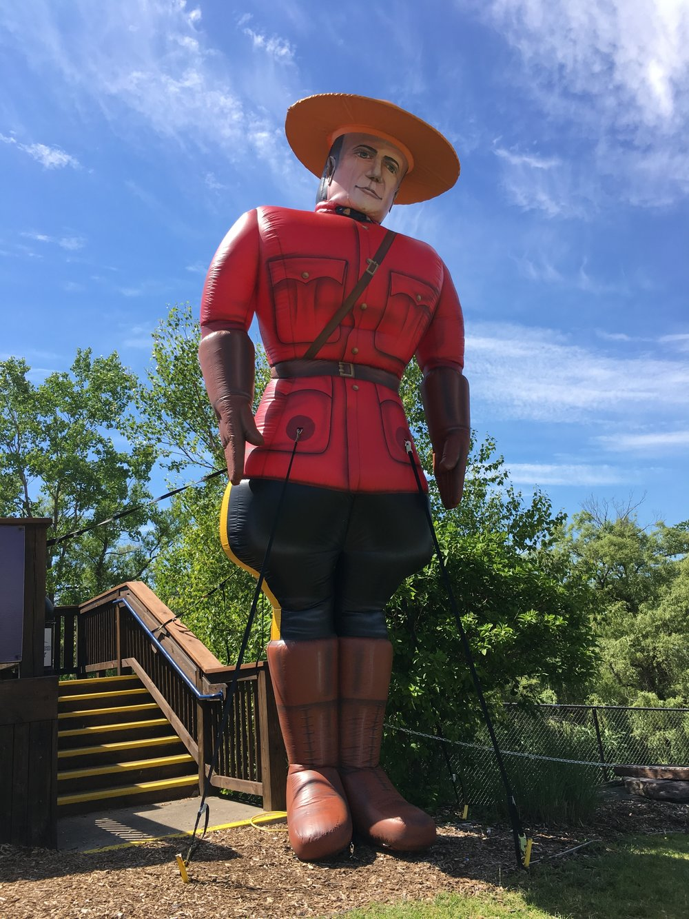 This giant inflatable Mountie was one of the feature attractions of Canada Night held by the West Michigan Whitecaps at Fifth Third Ballpark on Thursday in Grand Rapids, Mich. (Photo Credit: Alexis Brudnicki).