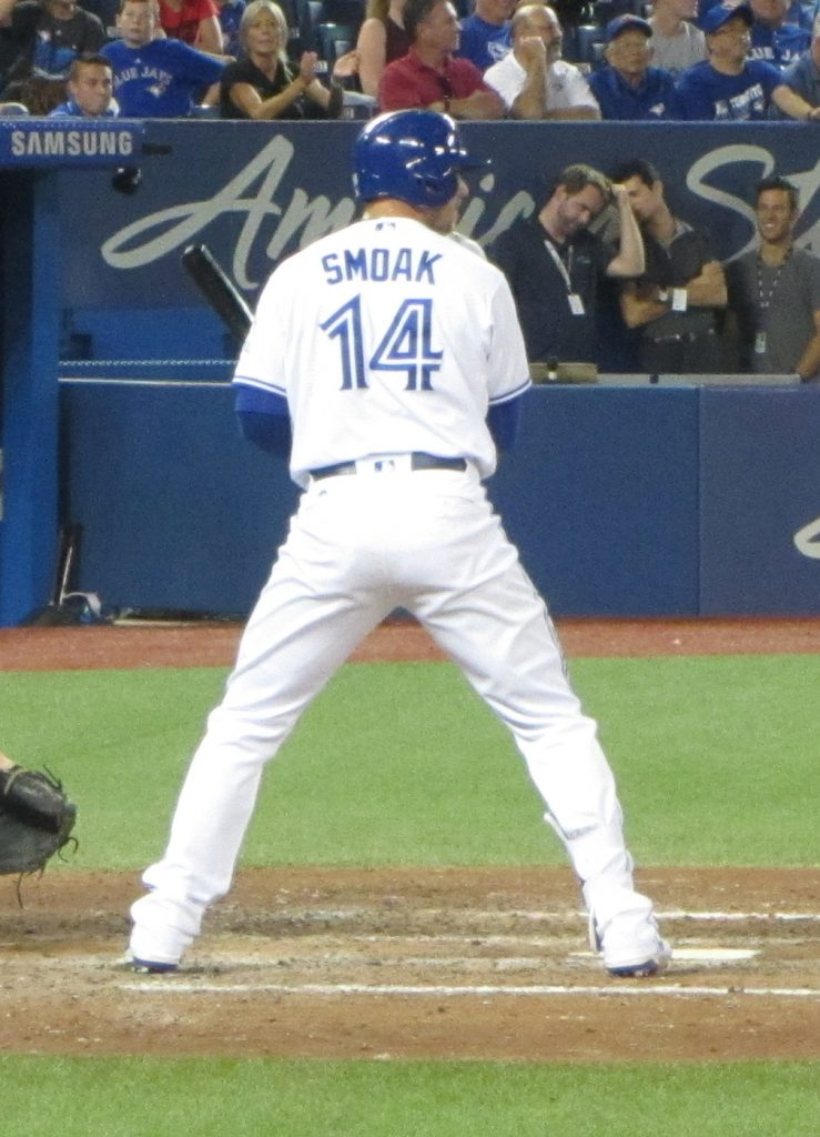 Toronto Blue Jays first baseman Justin Smoak clubbed three home runs and was a collective 5-for-12 in the three-game series against the Oakland A's. Photo Credit: Jay Blue