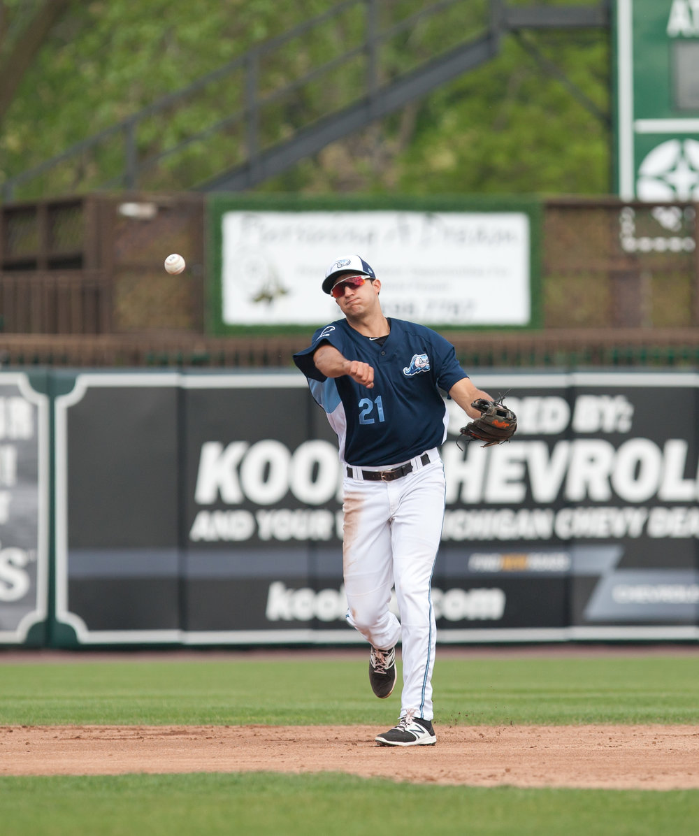 Ontario Blue Jays grad Daniel Pinero (Toronto, Ont.) is adjusting to his first full season of professional baseball with the class-A West Michigan Whitecaps in the Detroit Tigers organization. Photo Credit: Bob Campbell, LocalSportsJournal.com