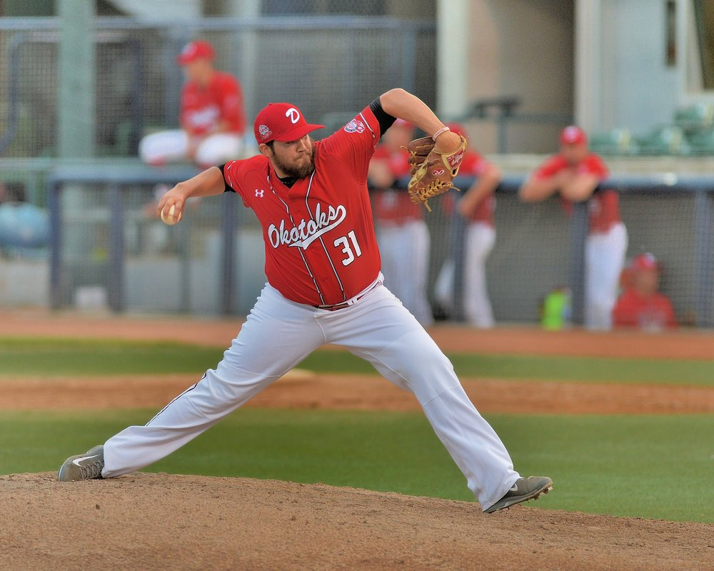 Right-hander Omar Celaya picked up the win in relief for the Okotoks Dawgs on Saturday. Photo Credit: Okotoks Dawgs