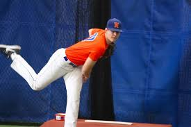 Toronto Mets RHP Landon Leach (Pickering, Ont.) at The Baseball Zone in Mississauga, attending a 2016 Scouting Bureau work out.