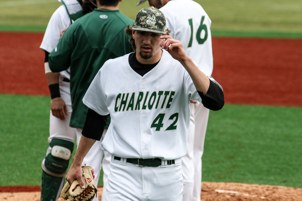 RHP Colton Laws of the UNC-Charlotte 49ers was the Jays seventh pick. Photo: Ben Robson.