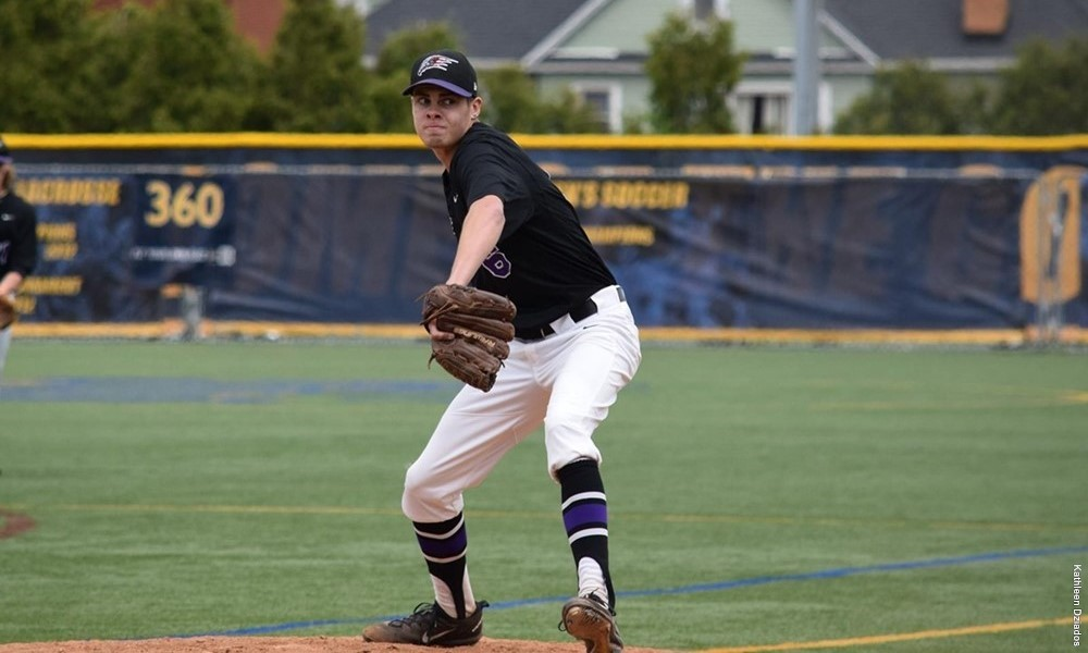 Right-hander Matt Brash (Kingston, Ont.) was named Metro Atlantic Athletic Conference Rookie of the Year in his freshman season for the Niagara University Purple Eagles. Photo Credit: Niagara University