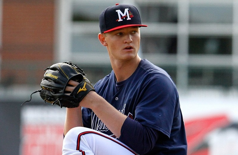 Calgary PBF Redbirds grad RHP Mike Soroka (Calgary, Alta.) is at double-A Mississippi. Photo: Ed Gardner, Mississippi Braves.