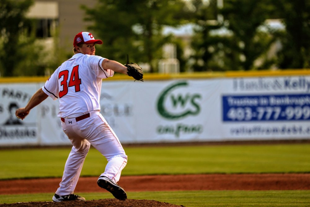 Rookie lefty Graham Brunner allowed just one earned run in six innings in the Okotoks Dawgs' 7-5 loss to the Lethbridge Bulls on Saturday. Photo Credit: Amanda Fewer