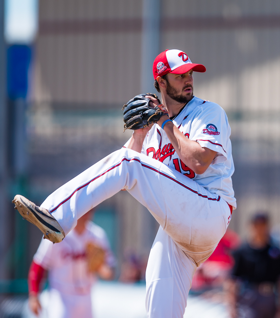 Right-hander Chris Horvath pitched 6 1/3 scoreless innings for the Okotoks Dawgs on Sunday to help his club to a 3-0 win in the second game of a doubleheader. Photo Credit: Angela Burger