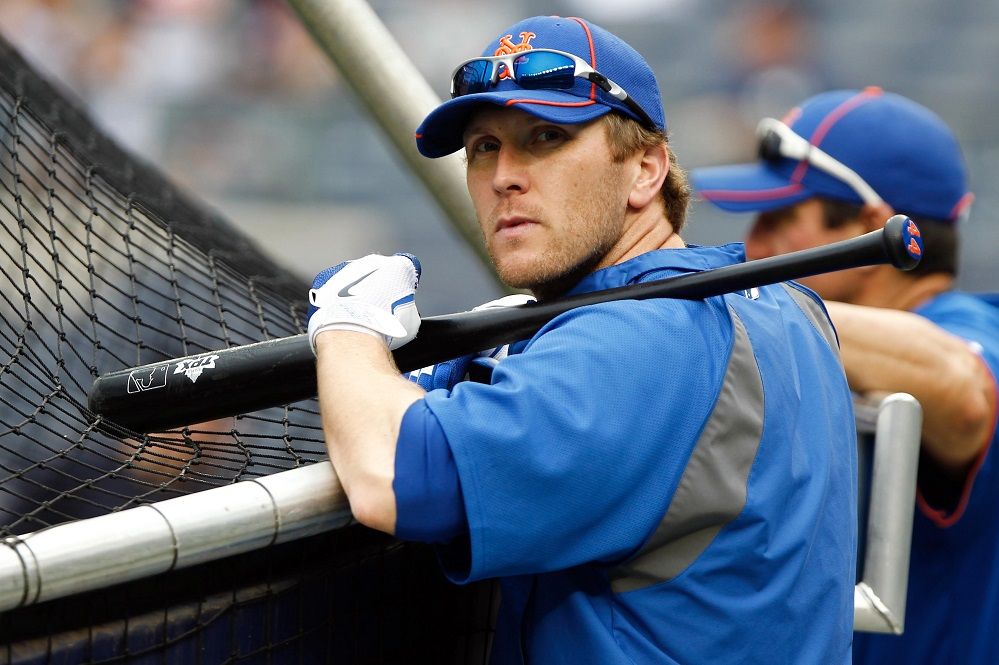 June 9, 2012; Bronx, NY, USA; New York Mets left fielder Jason Bay (44) during batting practice before the game against the New York Yankees at Yankee Stadium. Mandatory Credit: Debby Wong-USA TODAY Sports