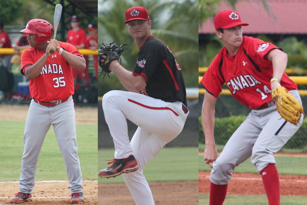 Josh Naylor (left), Cal Quantrill (centre) and Mike Soroka (right) have been named to the World roster for the annual SiriusXM All-Star Futures Game. Photo Credit: Baseball Canada