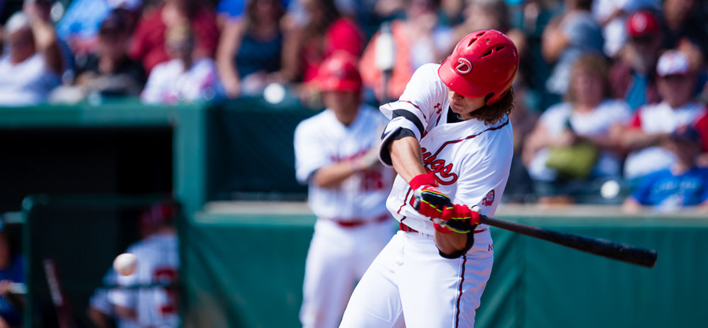 Jayse McLean hit his fourth home runs of the season to help the Okotoks Dawgs to a 13-8 victory over the Lethbridge Bulls on Thursday. Photo Credit: Angela Burger