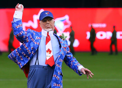 Donald S. Cherry (Kingston, Ont.) fires a ceremonial first pitch ... which would have been a strike at either the Cricket Field or Megaffin Stadium.