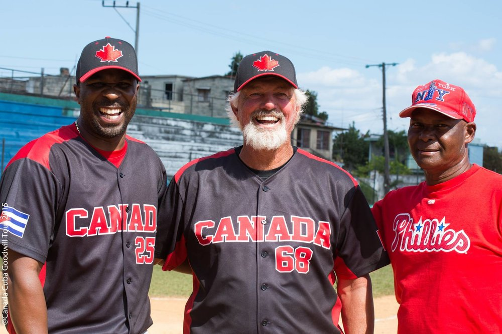 Devon White (left) and Bill Lee (centre) served as Canadian ambassadors on the Cuban national team's recent tour through Atlantic Canada .  Photo Credit: amateursport.wordpress.com (2015 photo)