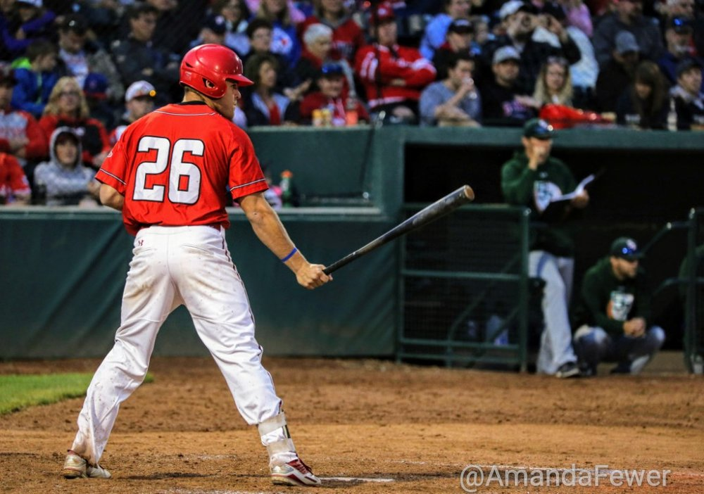 Zach Hanna enjoyed a multi-hit game for the Okotoks Dawgs on Sunday in their 17-6 loss to the Swift Current 57's. Photo Credit: Amanda Fewer