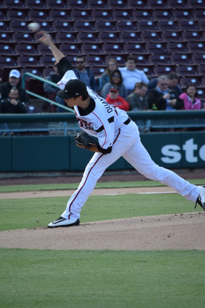 Former Ontario Terriers RHP Cal Quantrill (Port Hope, Ont.) is off to a fine start with the class-A Lake Elsinore Storm and come the all-star break he is off to the Futures Game in Miami. Photos: M.Kreg/EVT Sport.