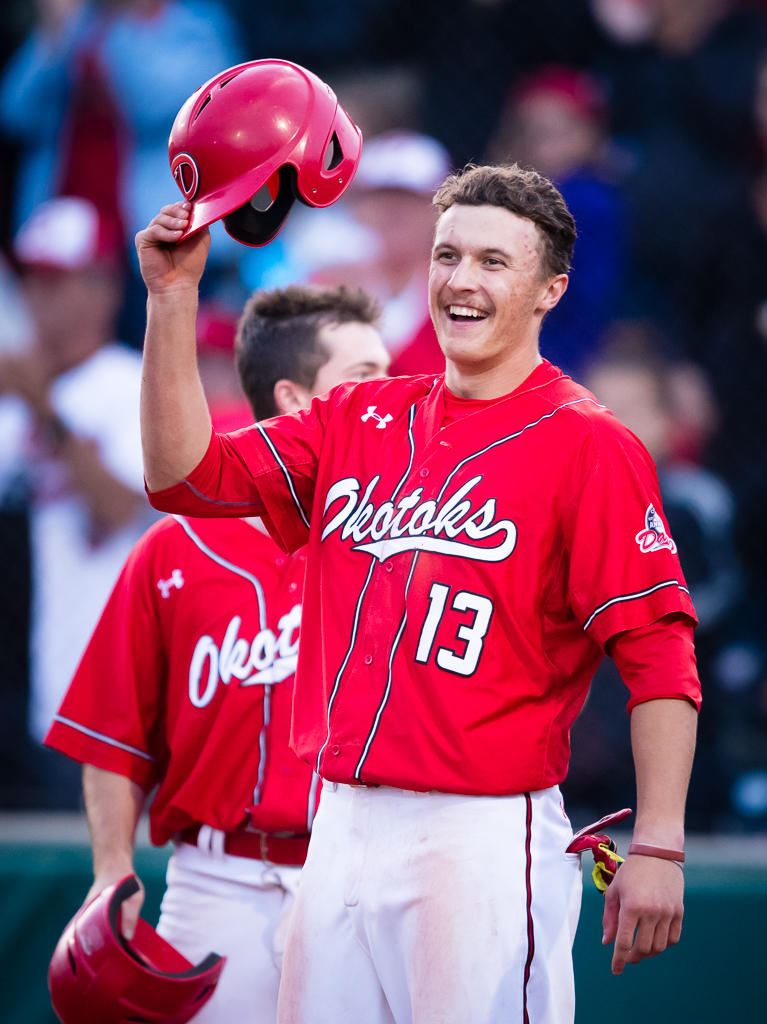 Ryan Humeniuk (above) was 2-for-3 with a triple and three stolen bases to help lead the Okotoks Dawgs to a 8-5 win over the Fort McMurray Giants on Thursday.