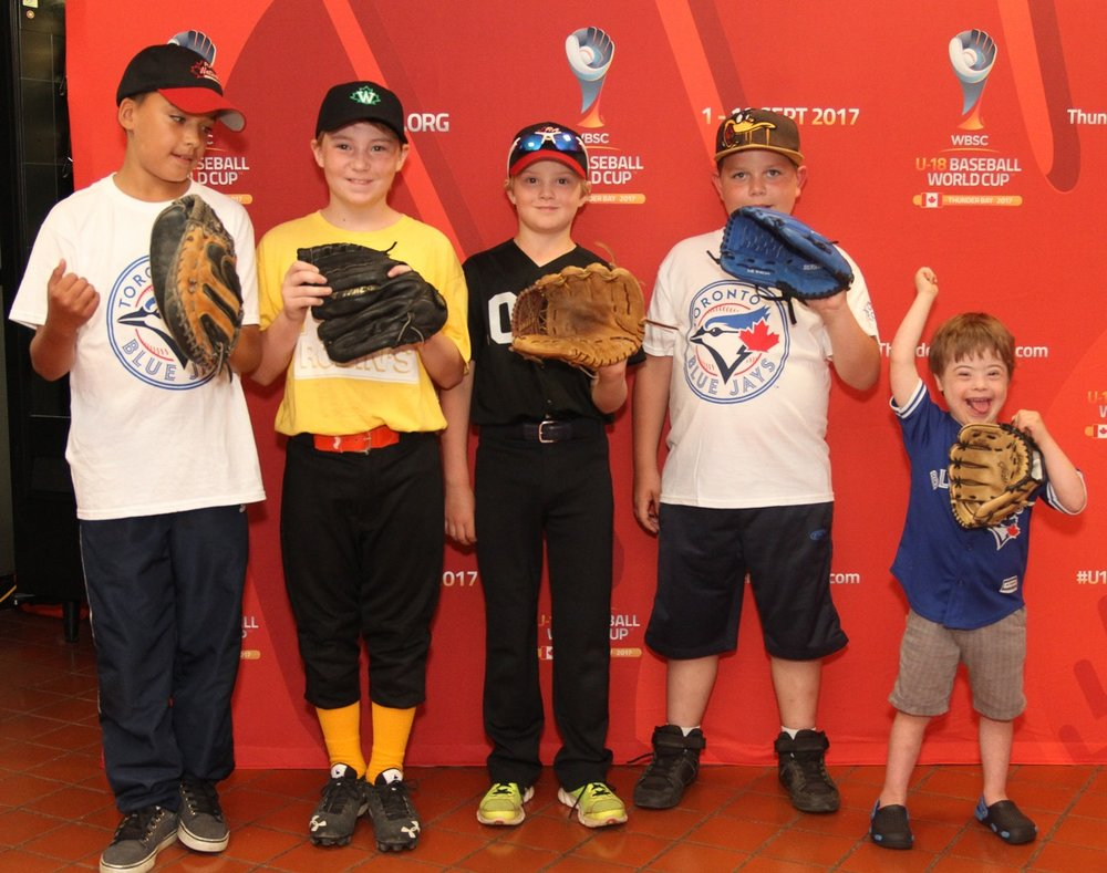 Children from Thunder Bay Little League, Challenger Baseball and the Boys and Girls' Club. Photo: James Mirabelli.
