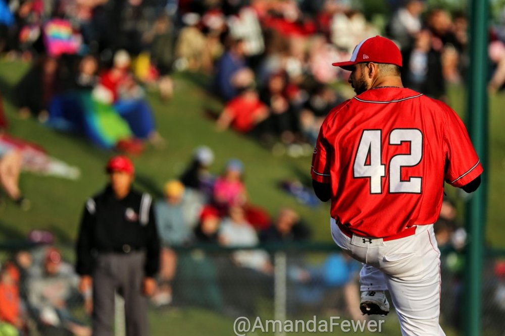 "Right-hander Anthony Balderas allowed just one run in seven innings to lead the Okotoks Dawgs to a 10-2 win over the Edmonton Prospects on Sunday. Photo Credit"" Amanda Fewer"