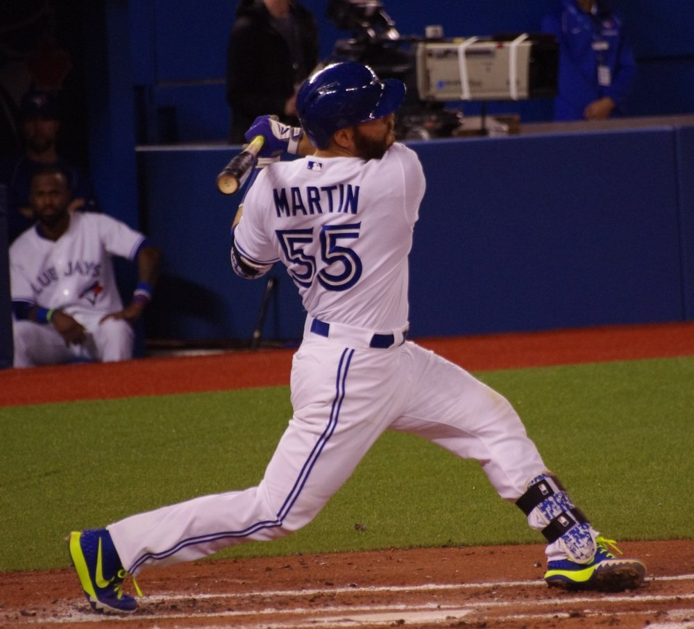 Montreal native Russell Martin went 9-for-22 (.409 batting average) for the Toronto Blue Jays in six games over the past week. Photo Credit: Jay Blue