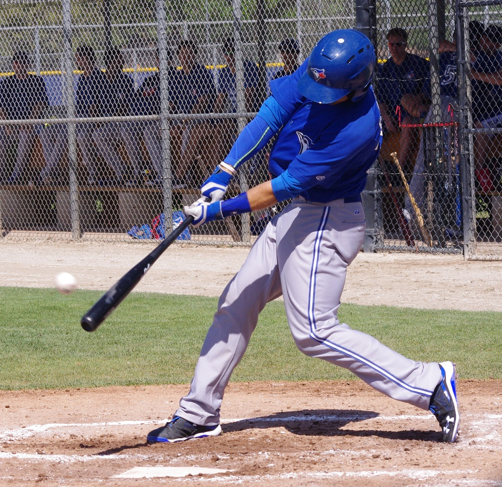 Peterborough, Ont., native Mike Reeves had a home run, a single and a walk to help lead the class-A Dunedin Blue Jays to a 2-1 win over the Clearwater Threshers on Sunday. Photo Credit: Jay Blue