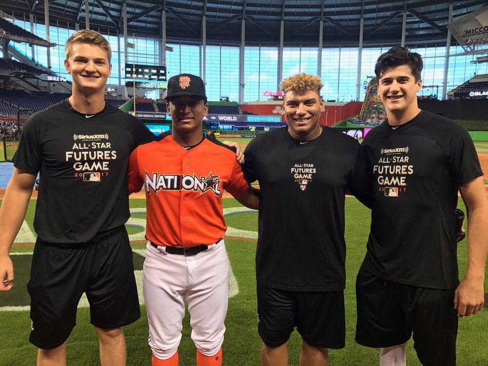 Noah Naylor (second from left) had his own Canuck cheering section as he finished runner-up in the junior Home Run Derby with Mike Soroka (Calgary, Alta.), brother Josh Naylor (Mississauga, Ont.) and Cal Quantill (Port Hope, Ont.)