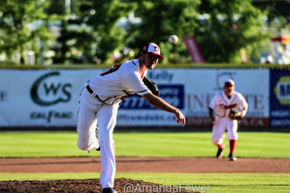 Right-hander Jack Rupe Jr. earned his first win of the season on Saturday, allowing just two runs in five innings to lead the Okotoks Dawgs to a 9-3 win over the Medicine Hat Mavericks. Photo Credit: Amanda Fewer