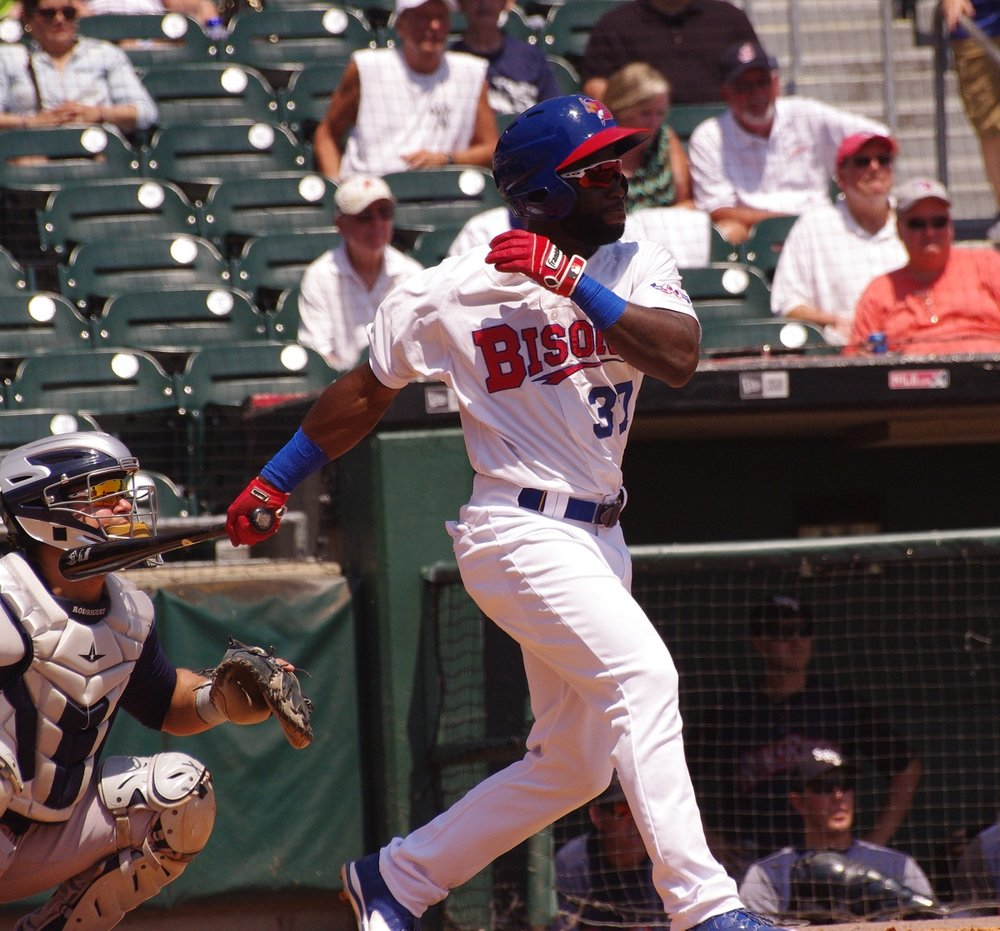 Roemon Fields went 2-for-4 in the triple-A Buffalo Bisons' 5-4 loss to the Columbus Clippers on Wednesday. Photo Credit: Jay Blue