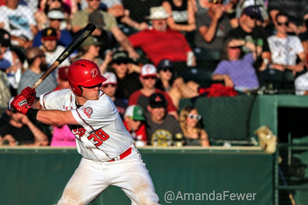 Cameron Campbell hit a home run and drove in all four runs to lead the Okotoks Dawgs to a 4-3 win over the Melville Millionaires on Thursday. Photo Credit: Amanda Fewer