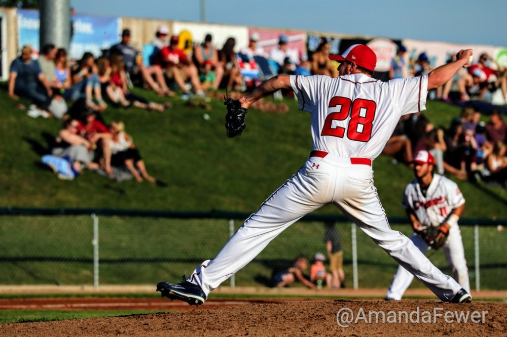 Okotoks Dawgs right-hander Jack Rupe held the Melville Millionaires hitless through 5 1/3 innings on Friday. Photo Credit: Amanda Fewer