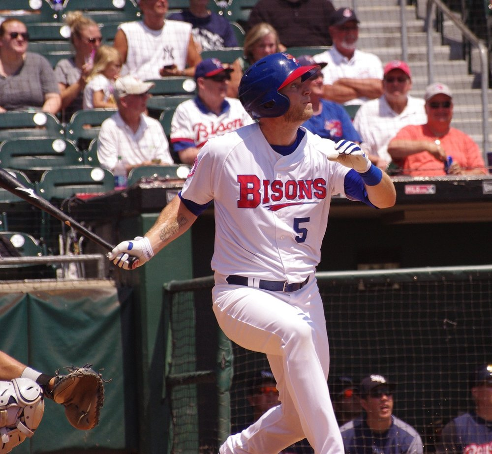 Victoria, B.C., native Michael Saunders clubbed his first home run for the triple-A Buffalo Bisons on Saturday. Photo Credit: Jay Blue